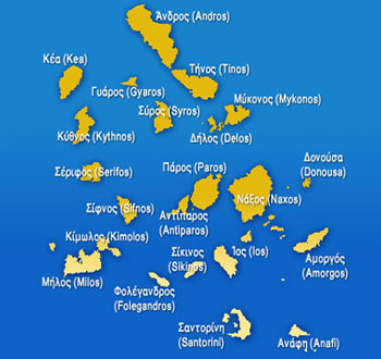 Map of Cyclades Islands